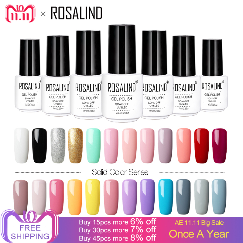 ROSALIND 7ML Gel Varnish Hybrid Nails Art Vernis Semi Permanent UV Gel Nail Polish Set For Manicure Soak Off Top Base White Gel