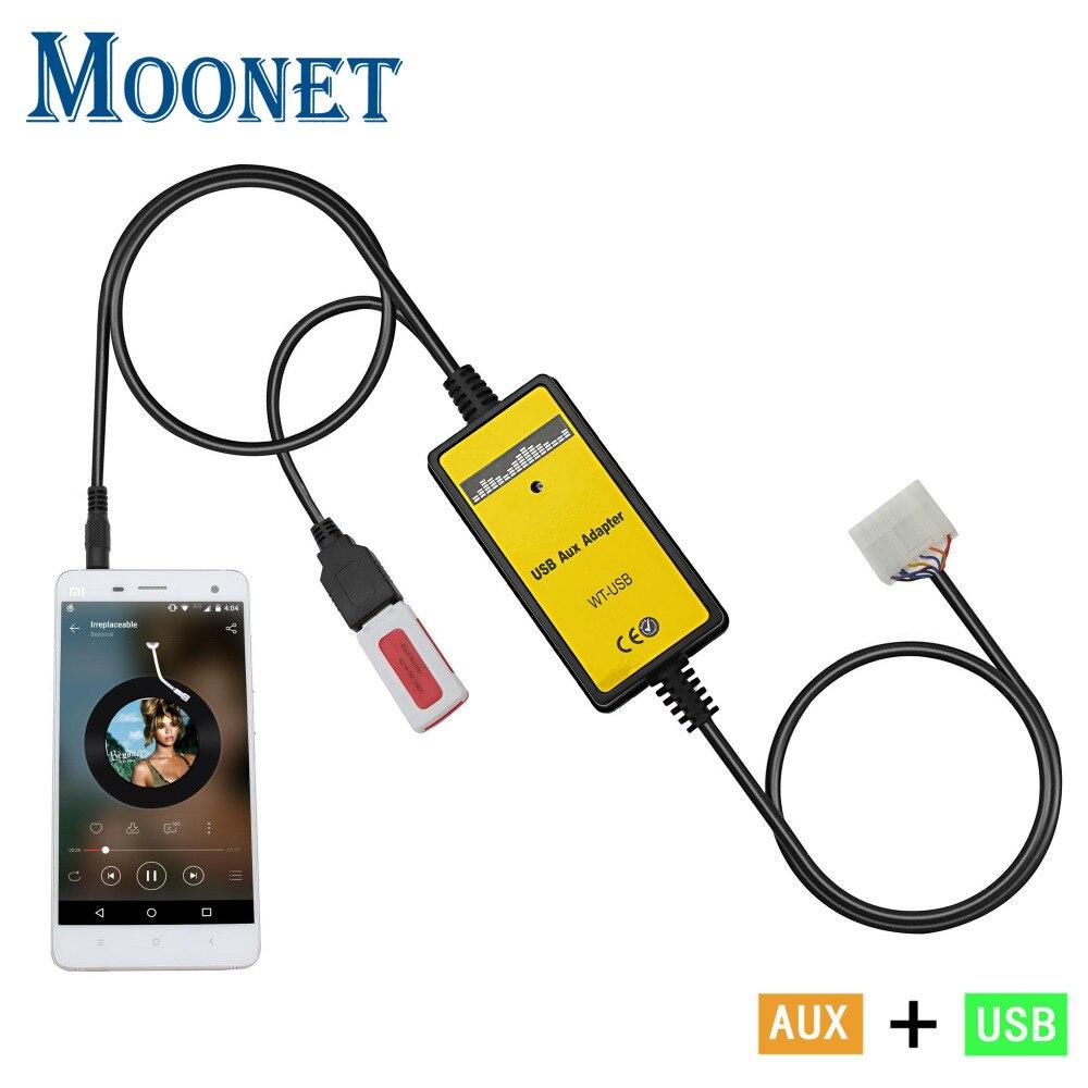 Moonet coche MP3 AUX USB interfaz de cambiador de CD 3,5mm adaptador AUX para Toyota 5 + 7 Yaris Camry Corolla avensis RAV4 Lexus QX018