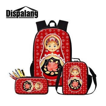 Russian Doll Print School Bags Girls Cute Backpack Patterns Cartoon Lunch Box Bag Kids Unique Gift Insulated Cooler Case Pen Bag