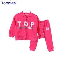 Autumn Sportswear For Infants Thick Kids Suits Zipper Coat Pants 2pcs 2018 New Design Child Clothing