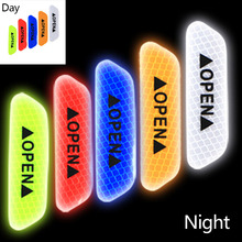 4Pcs/Set OPEN Sign Safety Reflective Strips Warning Mark Reflective Tape Car Door Sticker Decals  Universal Exterior Accessories 4pcs set open car door stickers auto warning mark reflective strips tail rear reflective tape driving safety