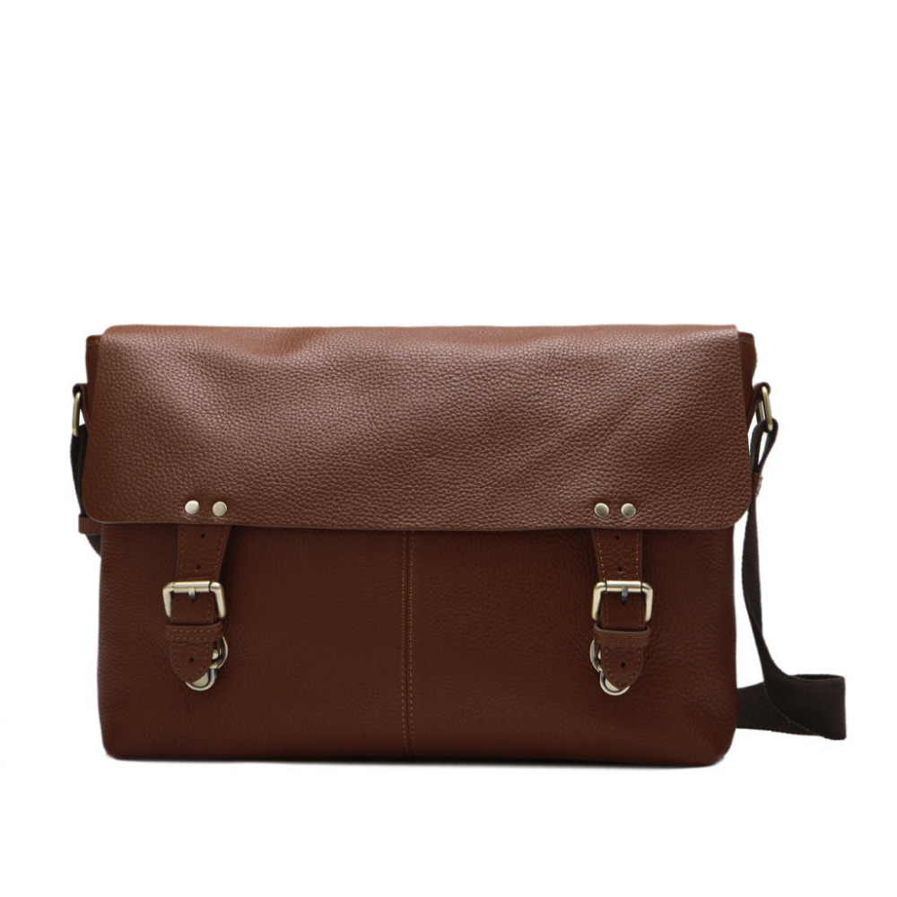 Men's Fashion Top quality Genuine cowhide top layer Real cow Leather Messenger Briefcase Laptop bag Single Shoulder bags