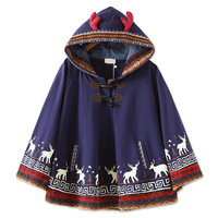 Autumn Japanese Sweet Red Elk Horn Ethnic Hooded Hoodies Casual Cartoon Deer Print Loose Bat Sleeve