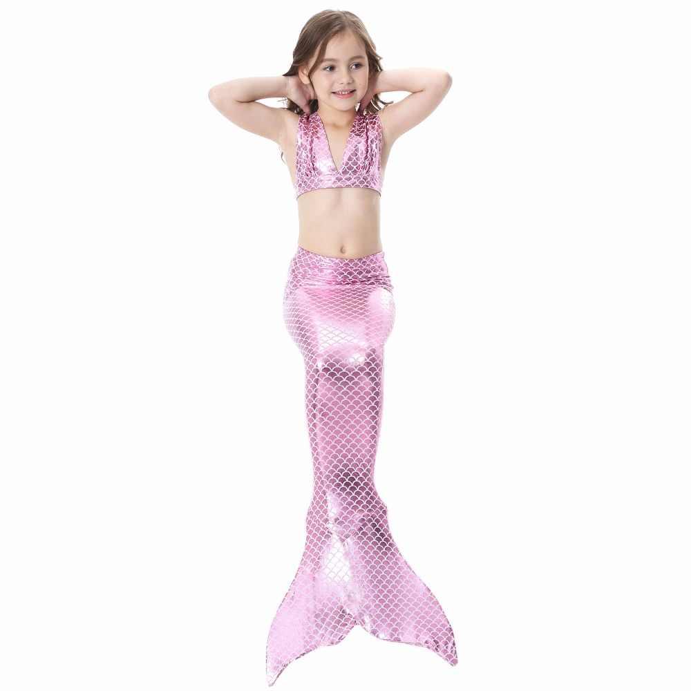 Детский костюм для косплея с хвостами русалки и плавниками, платье русалки, комплект бикини для девочки-русалки, купальник пляж Купание