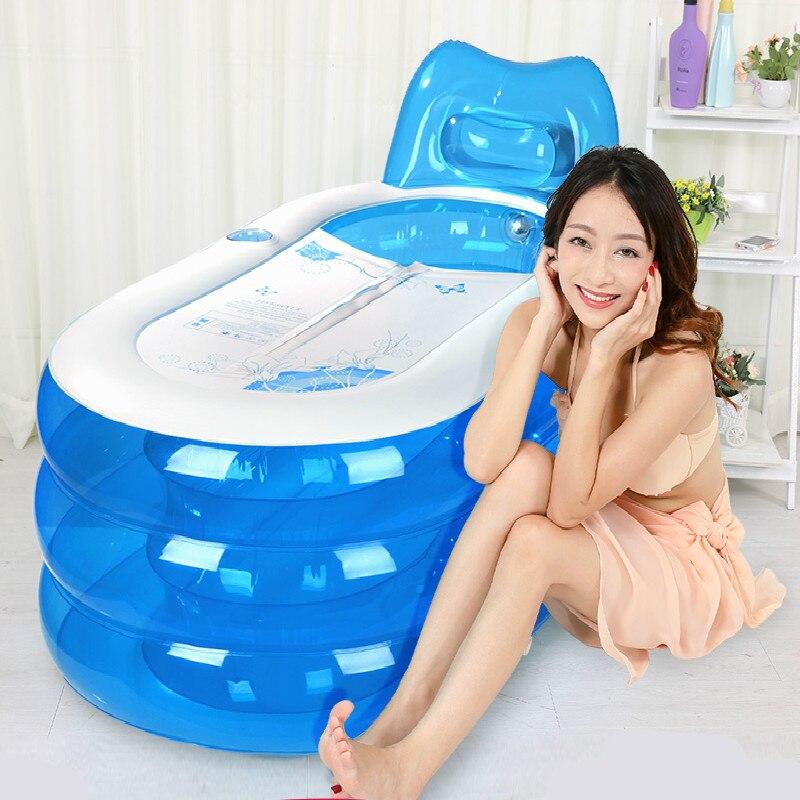 Baignoire gonflable épaissie adulte ménage pliant baril de bain en plastique grand enfants baignoire de haute qualité confortable