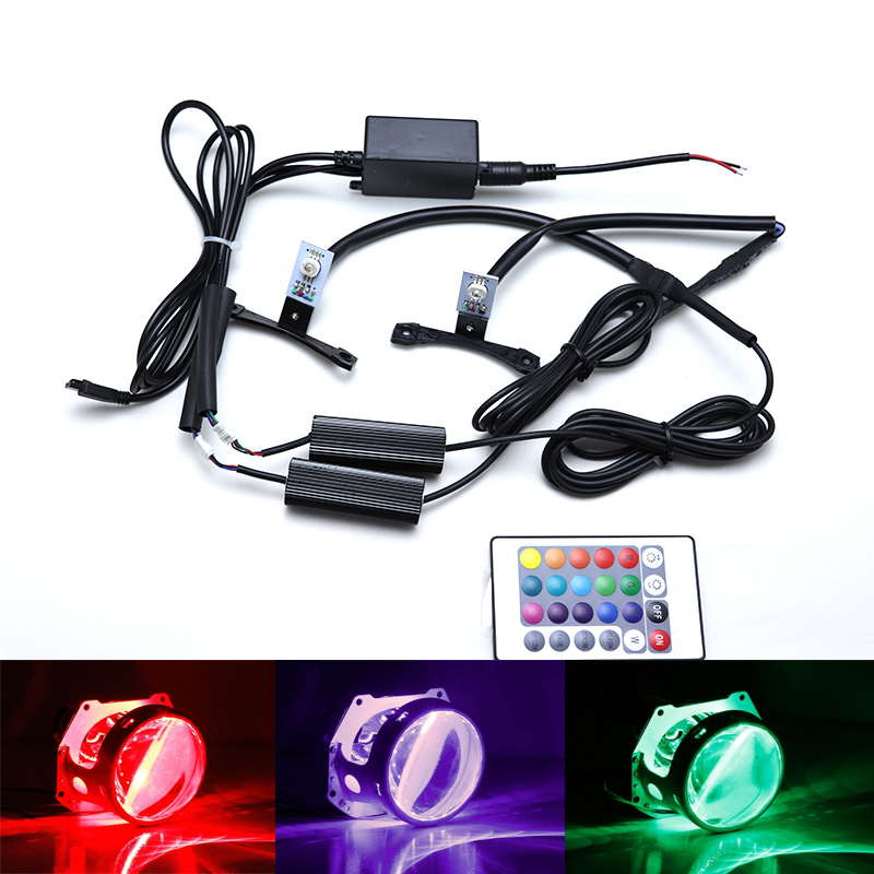 Multi color RGB Demon Eye LED devil eyes with Wireless Remote For Car Motorcycle Headlights Projector Retrofit
