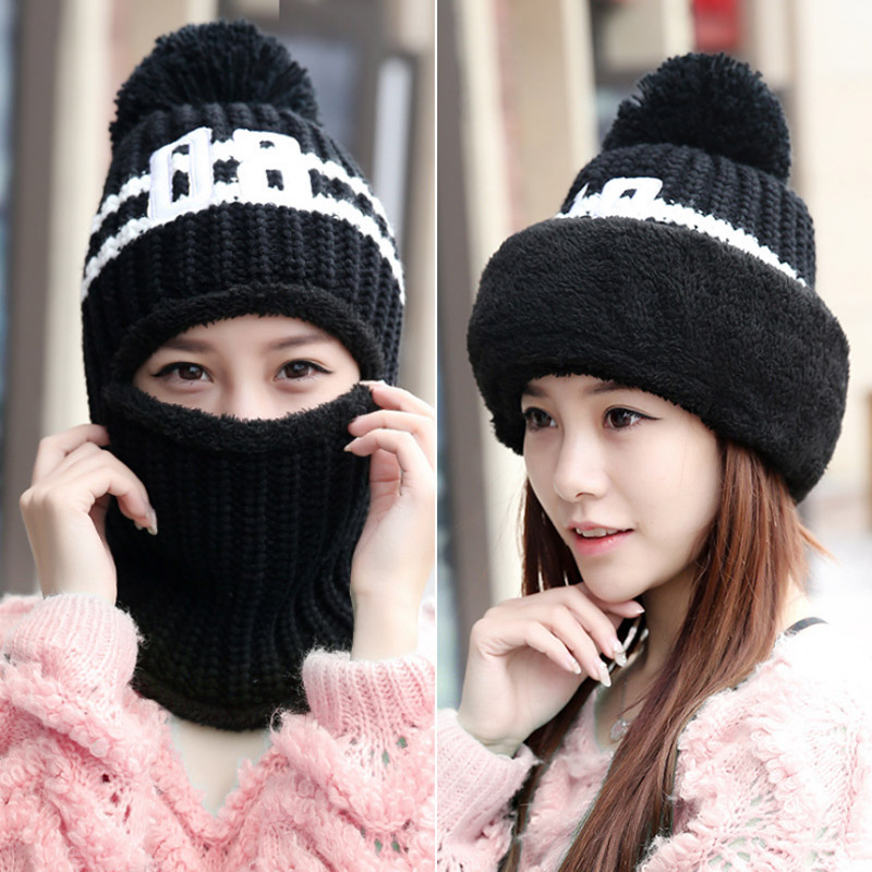 Winter Knitted Hat with Scarf Cap Neck Warmer Winter Hats For women   skullies     beanies   warm Fleece cap 6 colors Keep Warm
