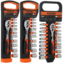 KSEIBI 1/4 In 6.35m Metric and SAE Ratchet Combination Wrench Set Chrome Vanadium Steel Ratchet Drive Socket Set Wrench Tool Kit 18 pcs ratchet combination wrench socket set with yellow plastic box