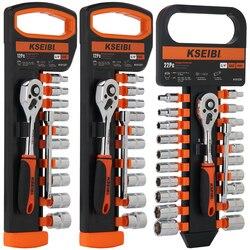 Kseibi 1/4 em 6.35m métrica e sae catraca combinação conjunto chave cromo vanádio aço conjunto de soquete da movimentação da catraca chave ferramenta kit
