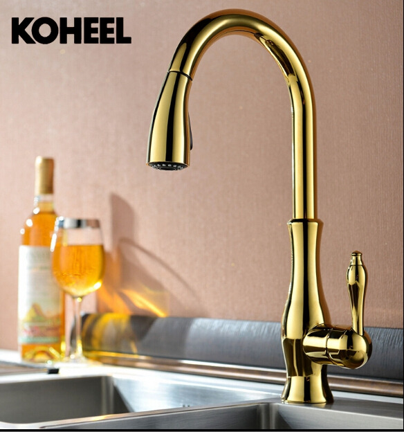 High Quality New Deluxe Pull Out Spray Kitchen Faucet Mixer Tap,Pullout Sprayer Kitchen Faucet Gold Plating Brass Material K9 free shipping high quality chrome brass kitchen faucet single handle sink mixer tap pull put sprayer swivel spout faucet