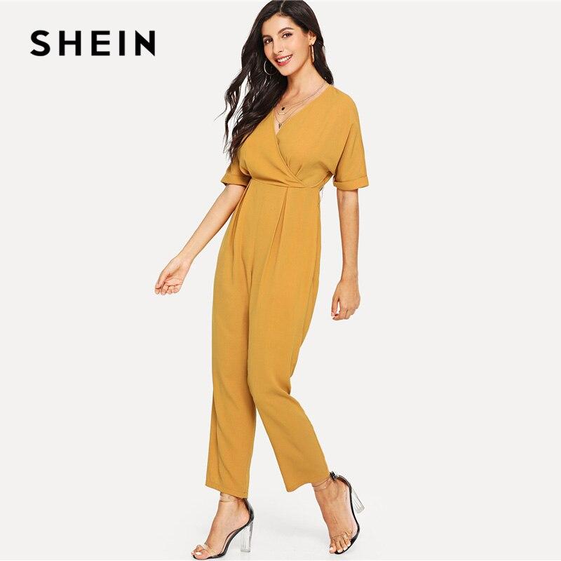 SHEIN Wrap Front Fold Pleat Jumpsuit Yellow V neck Half Sleeve High Waist Long Jumpsuit Women Summer Plain Elegant Jumpsuits