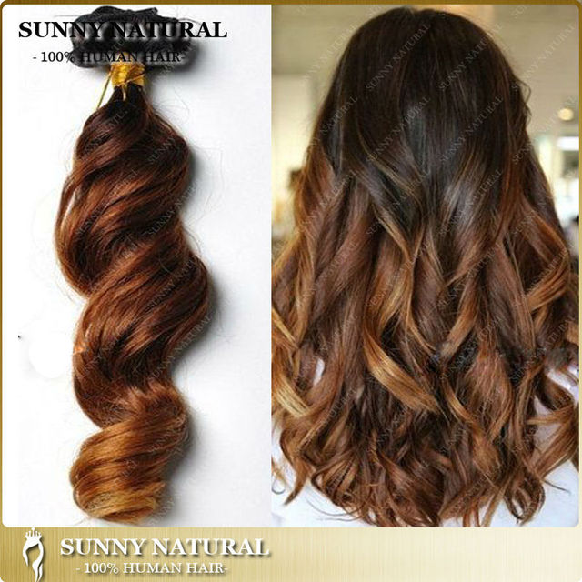 Fashion Ombre Clip In Hair Extensions Human Hair Loose Wave