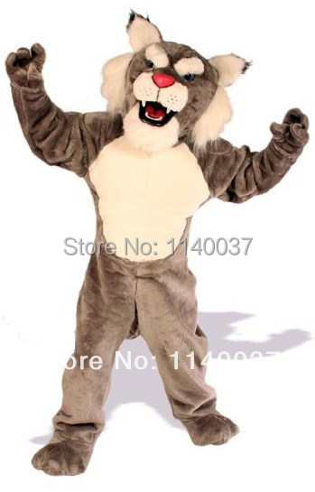 mascot Adult Size Power Cat Wildcat Mascot Costume with Helmet Professional Mascotte Outfit Suit Party Cosply Costume