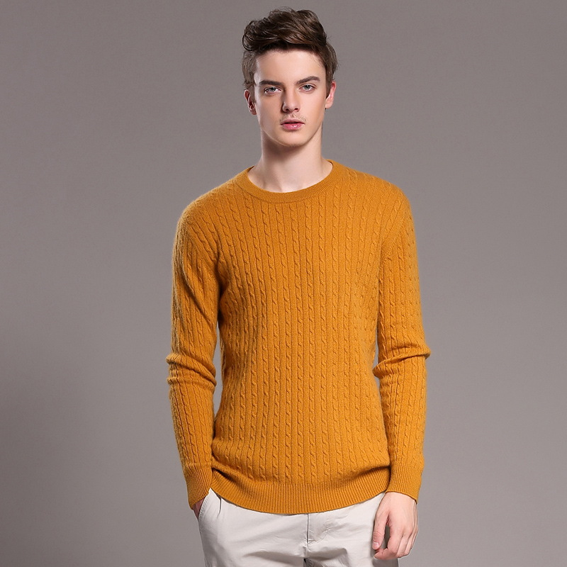 Men's O neck Classical Allover Cable Knit 100% Goat Cashmere ...