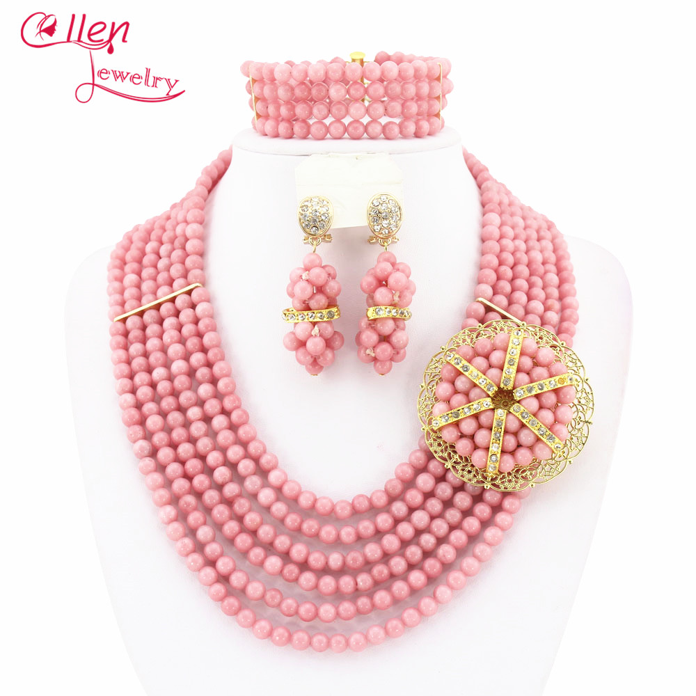 8 Rows Mint Green African Nigerian Wedding Beads Jewelry Set Necklace Bracelet Earrings Sets JL4160 classical malachite green round shell simulated pearl abacus crystal 7 rows necklace earrings women ceremony jewelry set b1303