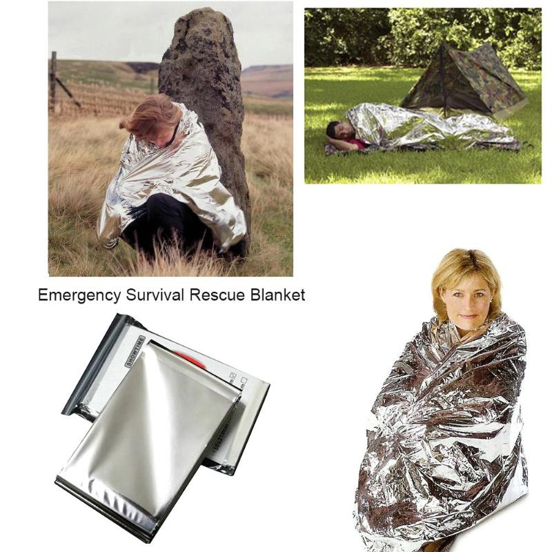 160*210cm Emergency Blanket Survival Rescue Foil Thermal Space First Aid Sliver Rescue Curtain Military Blanket 1pc folding outdoor military emergency survival foil thermal rescue blanket shelter insulation curtain life saving blanket