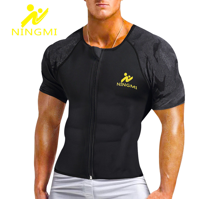 NINGMI Men Neoprene Body Shaper Slim Waist Trainer Tank Top Tummy Slimming Vest Modeling Belt Corset Mesh Shapewear Shirts Strap