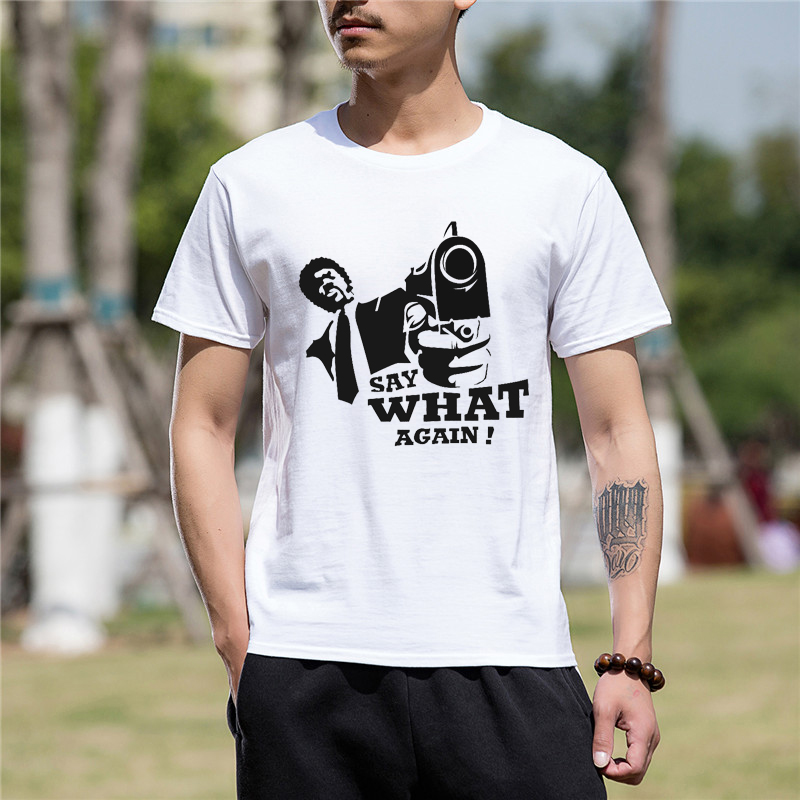 Cotton Short Sleeve Tshirt Hot Sale Fashion Men Clothes Casual PULP FICTION SAY WHAT AGAIN Print Funny T Shirt Men