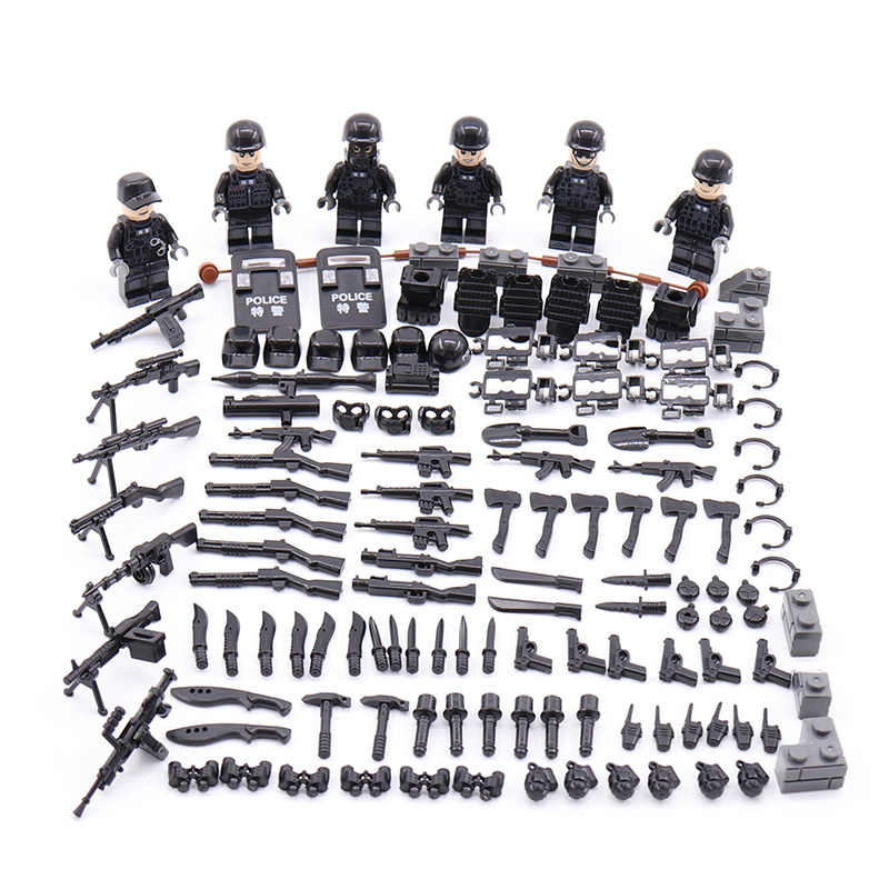New LegoINGlys Military SWAT City Police Minifigure Modern Commando Special Forces Weapons Building Blocks Figures Toys
