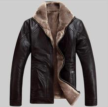 Casual design sheepskin short jacket Fur Faux Leather Jacket Men Warm Fleece Winter clothing male fur outerwear