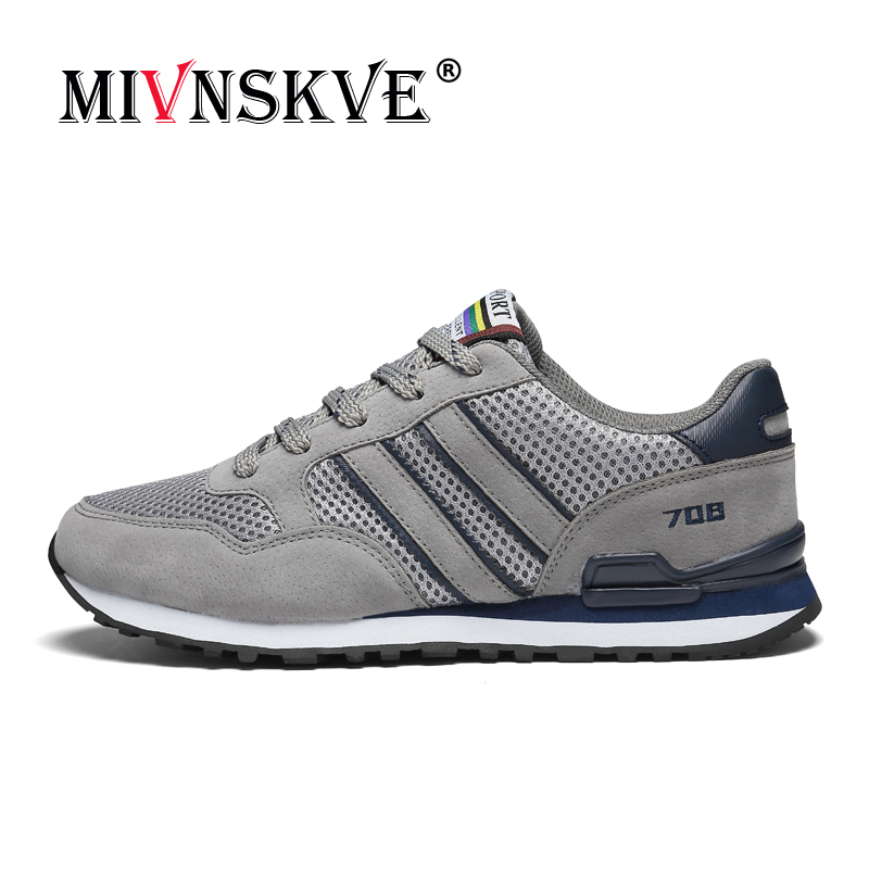 MIVNSKVE 2018 brand Men Running Shoes Men Sports Shoes Breathable Mesh Sneakers Men Sports Shoes lace-up Flats fitness marathon