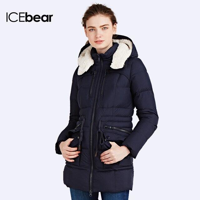 ICEbear 2016Капюшон белый мех Пуховик приталенный Резинка На Талии Био-Пух мягкий идеальный Наполнитель зимней Одежды 16G667P