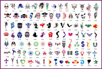 2014 Latest 100pcs Skull series Designs Reusable Adhesive Airbrush Tattoo Stencil Template New Book 14 Free shipping