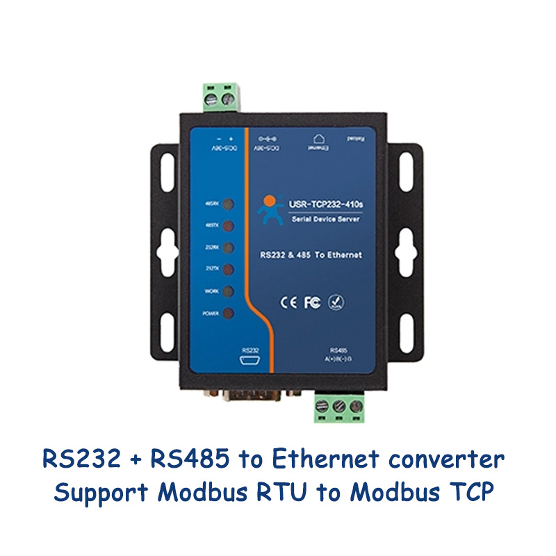 Serial RS232 RS485 To RJ45 Ethernet Converter Modbus RTU To Modbus TCP Gateway Industrial Grade