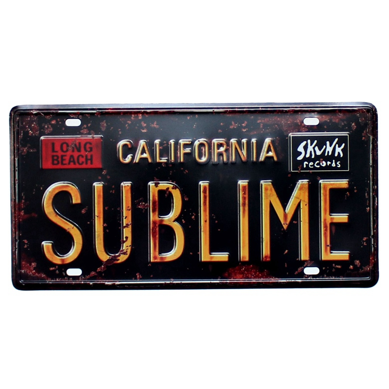 Vintage Car License Metal Plate USA CALIFORNIA SUBLIME Wall Art Craft Iron Painting For Bar Cafe Garage Decor A928