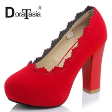 DoraTasia Big Size 33-43 Sexy Women Square High Heels Party Wedding Shoes Round Toe Platform Pumps Red Black Apricot
