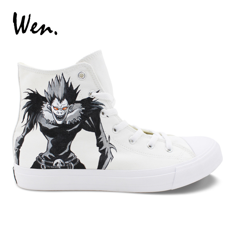 Wen Anime Design White Sneakers Hand Painted Shoes Death Note Ryuuku Rem Cosplay Shoes Teenagers Trainers Lacing Flat Plimsolls