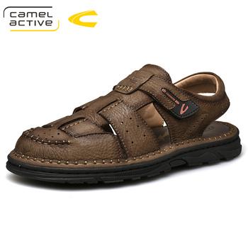 Camel Active 2019 lato ręcznie Comfortabl prawdziwej skóry męskie sandały męskie buty Casual klasyczny szycia woda plaża Sandalias tanie i dobre opinie Dla dorosłych Stałe Gladiator Pasuje prawda na wymiar weź swój normalny rozmiar Mieszkanie (≤1cm) Na co dzień Skóra bydlęca