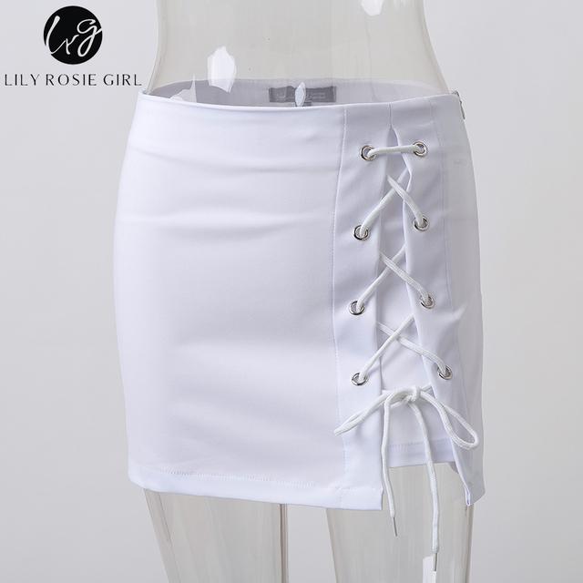 Lily Rosie Girl Sexy Lace Up Skirt Women High Waist Summer Beach Sexy Mini Skirts Cross Split Bodycon Pencil Short Skirt