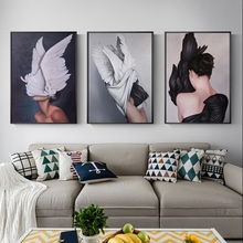 Modern Abstract Painting feather Angel Picture Art Decoration Home Bedroom Modular Wall Pictures Postmodern Triptych
