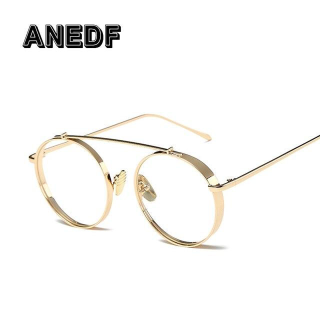 b731f658f3 ANEDF Fashion Vintage Women Eye Glasses frames Plain Mirror Literary  Harajuku big Metal oval frame glasses Classic Eyeglasses