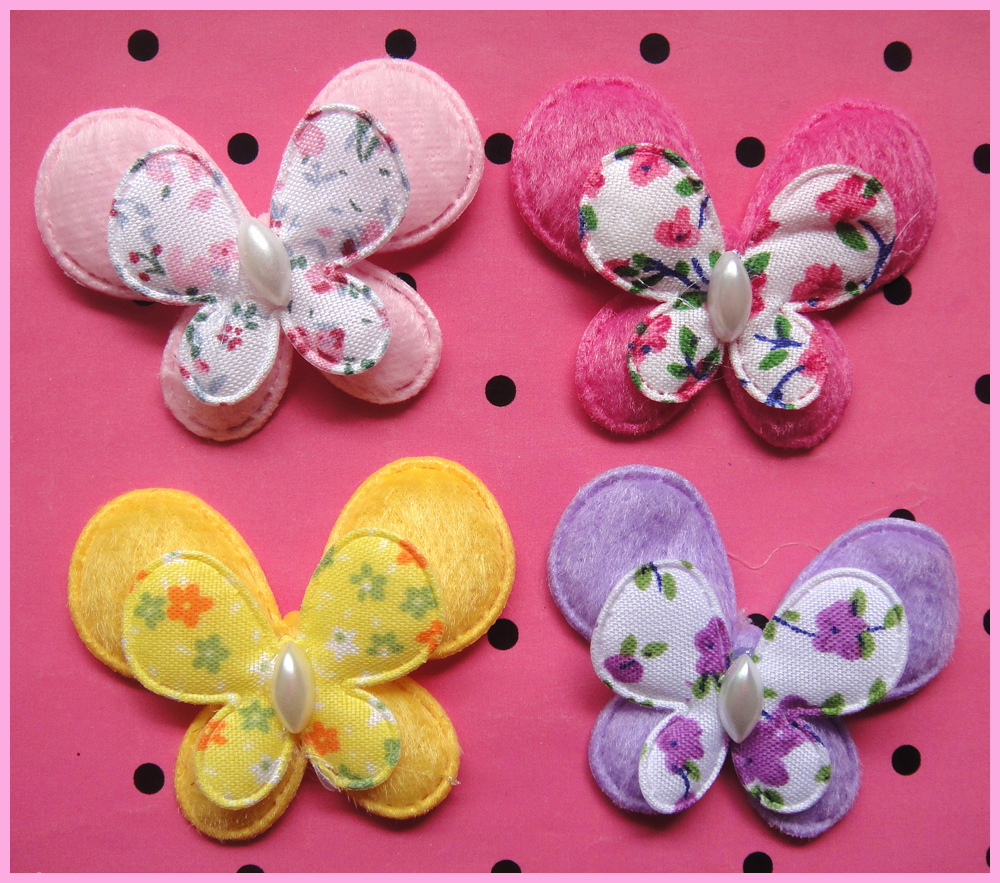 Free shipping hot sale 50pcs mix five color Padded felt furry butterfly Appliques