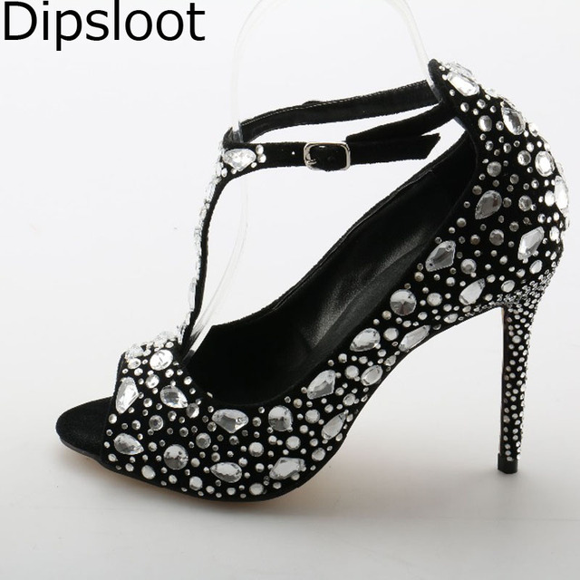 0df32164c92 Summer Ladies Pure Gem Diamond T-Strap Sandals Women Shiny Rhinestones  Wedding Pumps Crystal Embellished Heel Dress Sandal Shoes