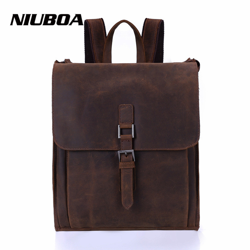 NIUBOA Leather Man Backpack High Quality Euro Genuine Leather Bags College Preppy School Retro Backpack for Laptop Cowhide BagsNIUBOA Leather Man Backpack High Quality Euro Genuine Leather Bags College Preppy School Retro Backpack for Laptop Cowhide Bags