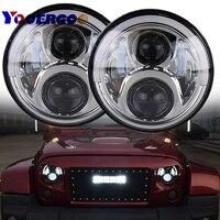 7 Inch 60W LED Auto Round Headlight Turn Signal Lights DRL Halo Angel Eye Lamp With