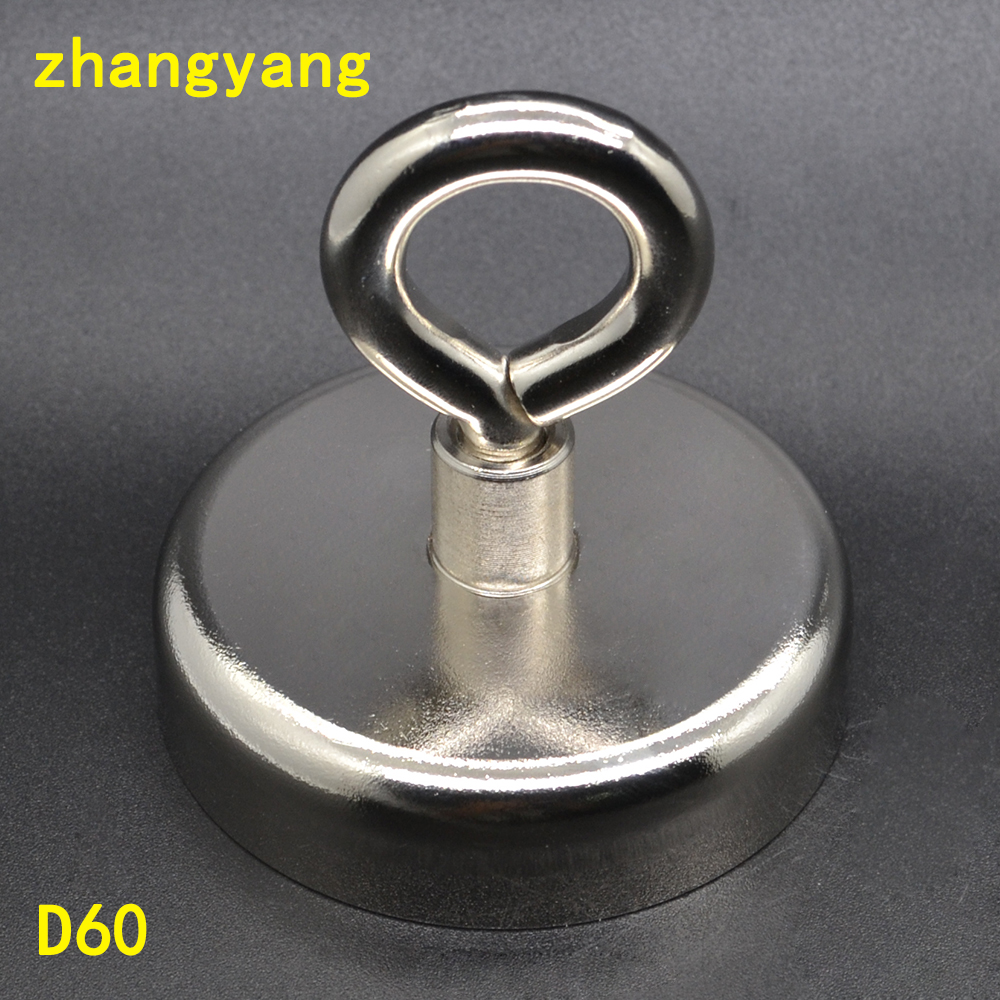 Magnets Pulling Mounting D60mm strong powerful neodymium Magnetic Pot with ring fishing gear, deap sea salvage equipments цена