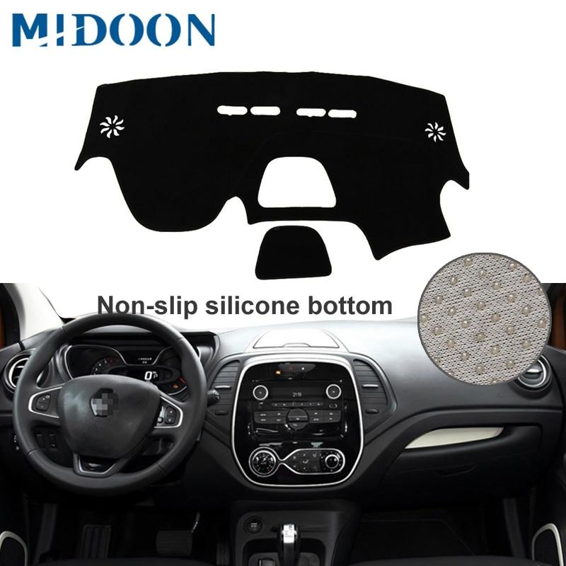 MIDOON Car Dashboard Cover For Renault Captur 2014 2015 2016 2017 Dash Mat Dash Pad Sun Shade DashMat Dash Board Cover Carpeter