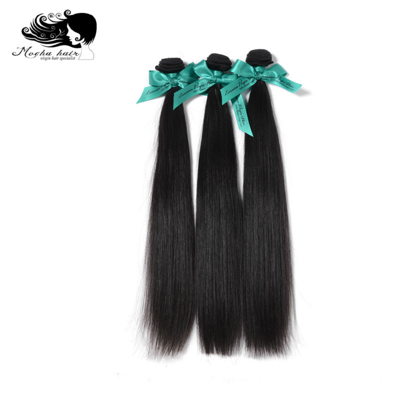 Mocha Hair Eurasian Hair Virgin Straight Hair Extensions 3pcs/lot 10-28 Natural Color