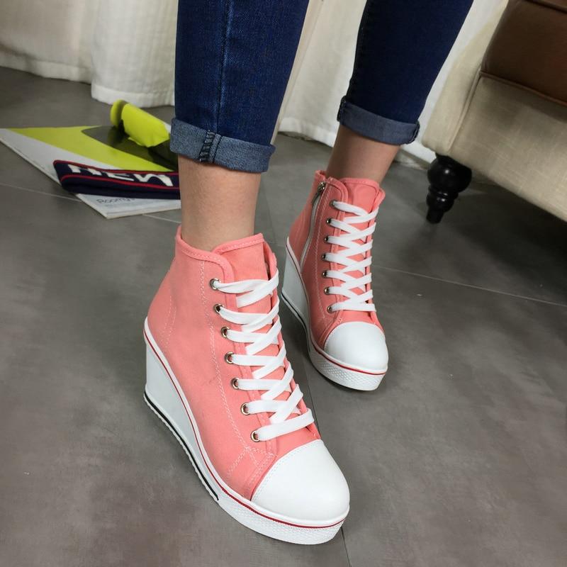 Envío gratis 2016 Insignia Cuñas High Lacing Casual elevador - Zapatos de mujer - foto 3