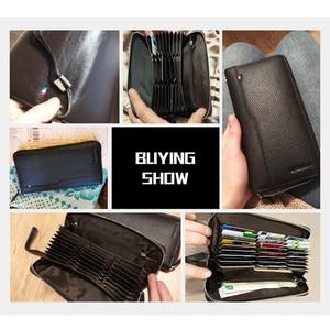 Image 2 - BISON DENIM erkek çanta hakiki deri büyük kapasiteli kart tutucu inek derisi para çanta erkekler için kaliteli fermuarlı bozuk para cüzdanı N8226