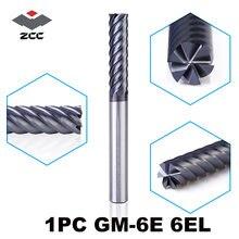 1 шт zccct gm 6e 6 фрез с рифленым концом tiain карбидные спиральные