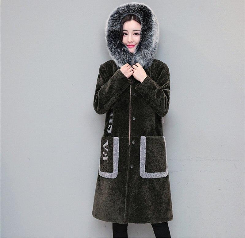 De Renard Green Capuche Chaud 2018 Longs Veste Vestes Abrigo Noir Ayunsue Mode Des Manteaux army Femmes Manteau Wxf474 Laine Fourrure Col À D'hiver Black 8gYxaqx