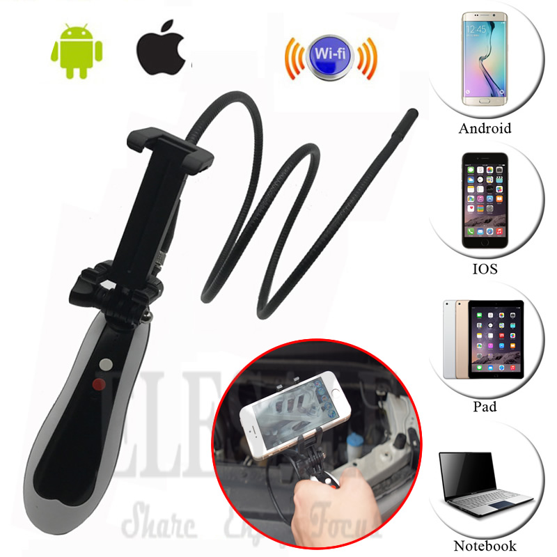 Handheld Wireless Wifi Android iPhone Endoscope Camera With Waterproof 1m Hard Cable Snake Tube Pipe Borescope Inspect Camera diameter 17mm camera head with flexible tube for av handheld endoscope
