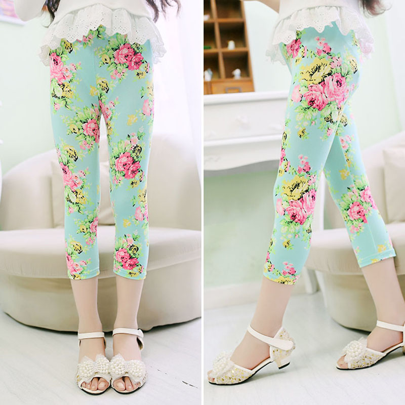 3-10years Girls Cropped Trousers Floral Print Flower Kids Calf Length Skinny Pants Stretch Leggings Children All-matches Bottoms 5