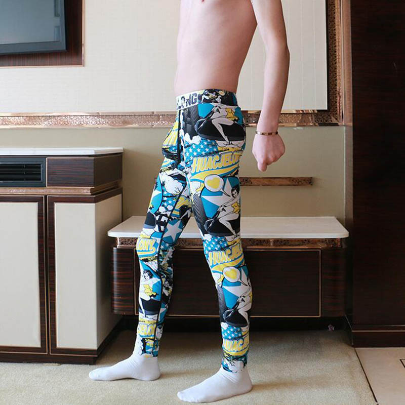 KWAN.Z brand male thermal underwear cartoon printed long johns bottom elastic pajamas thermo mens underwear compression leggings