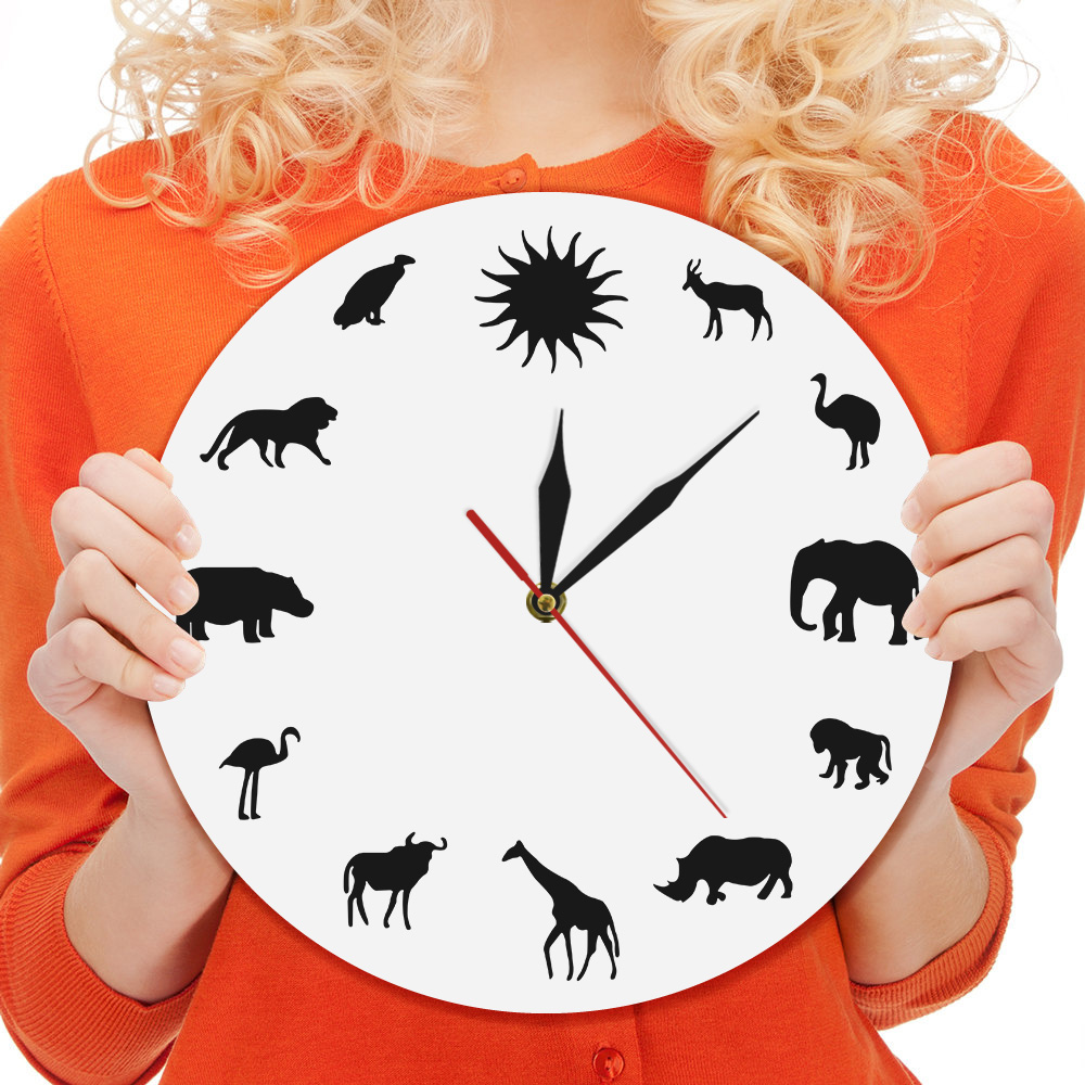 1Piece Wildlife Animals Wall Clock African Giraffe Elephant Lion Hippo Clock African Wildling Silent Preservationist Clock